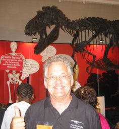 Peter Larson with the Gorgosaurus cast that the Black Hills Institute for Geological Research produced.