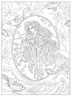 Creative Haven Magnificent Mermaids Coloring Book (Creative Haven Coloring Books) Coloring Pages For Teenagers, Love Coloring Pages, Free Adult Coloring Pages, Animal Coloring Pages, Coloring Sheets, Mermaid Coloring Book, Creative Haven Coloring Books, Fairies, Amazon