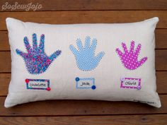 Grandchildren Handprint Pillow Cushion hand sewn and fully personalized.  A great mothers day gift or keepsake for Grandma.
