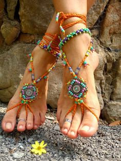GYPSY summer BAREFOOT SANDALS sole less sandals beach by GPyoga, $89.00 Hippie Boêmio, Estilo Hippie, Beaded Foot Jewelry, Beaded Anklets, Turquoise Glass, Turquoise Jewelry, Orange Sandals, Crochet Sandals, Shoes Photo