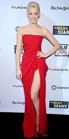 Thigh-High Slit Dresses:   Amber Heard in Elie Saab