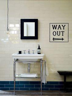 Awesome London Underground inspired bathroom tiles 'way out' Edwardian bathroom Loft Bathroom, Bathroom Basin, Family Bathroom, Bathroom Renos, Small Bathroom, Bathroom Ideas, Cloakroom Basin, Bathroom Grey, Classic Bathroom