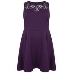 Purple Sleeveless Skater Dress With Lace Yoke plus size... (425 EGP) ❤ liked on Polyvore