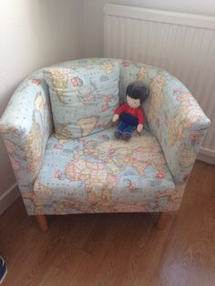 Jack's World Map Chair for his nautical themed room - so happy with the finished result!! #rosewoodfurnishings #upholstered #ikea #bucketchair #nautical #boysroom