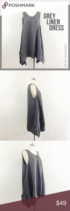 "🆕 MELODY • grey linen assymetric tent tank dress • super airy and lightweight popover dress • assymetric hem • interesting cross over button detail • sleeveless with wide arm holes • just throw on and go  100% linen  ✂️  Bust = 42"" ✂️  Waist = 48"" ✂️  Length = 36"" at the shortest  • sorry no trades • please feel free to ask any questions  ❤️,  @mikimakes boutique Dresses Asymmetrical"
