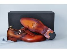 TucciPolo Bellissima Handcrafted Womens Luxury Style Single Buckle Monkstrap Carmel Brown Shoe