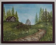 cabin in woods with pathway | Stamps: Lakeside Cabin, Curvilinear Road, Pine Row, Reeds Lg., Sedge ...