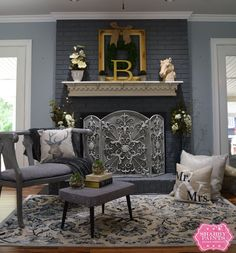 If you're SO over your boring brick fireplace, this might be the most inexpensive way to dramatically transform it—and it takes just 1 hour!
