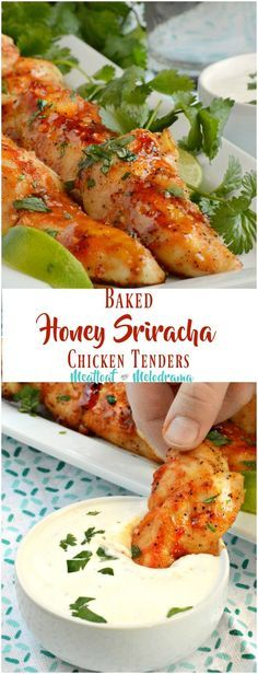 Baked Honey Sriracha Chicken Tenders - Sweet and spicy glazed chicken strips take just 20 minutes to make and are perfect for a quick and easy lunch, dinner or game day appetizer. from Meatloaf and Melodrama