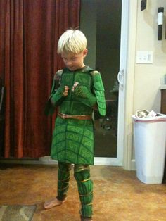 Leaf man costume from the movie Epic. I used green Felt and hand painted the designs, he loved it!