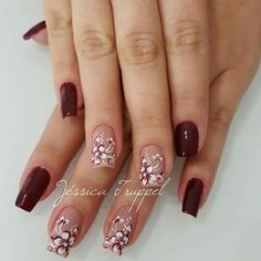 38 super ideas for nails red design fall colour Nail Designs Easy Diy, Nail Art Designs, Nails Design, Heart Nail Art, Heart Nails, Acrylic French Manicure, Acrylic Nails, Matte Nails, Red Nails