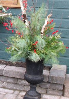 seasonal urns eclectic holiday outdoor decorations toronto wall flower studio christmas porch