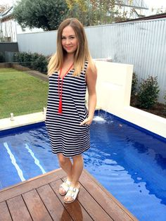 Summer Dreaming :: Ahoy V Neck Dress from Bohemian Traders and Remy white slide sandals from Spend-less Shoes