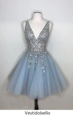 Sparkly A-line Deep V-neck Light Blue Short Homecoming Dresses . Read more The post Sparkly A-line Deep V-neck Light Blue Short Homecoming Dresses appeared first on How To Be Trendy. Blue Homecoming Dresses, Cute Prom Dresses, Dresses For Teens, Pretty Dresses, Graduation Dresses, Grade 8 Grad Dresses, Elegant Dresses, Sexy Dresses, Short Purple Prom Dresses