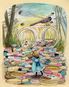 buttoninfatuation:  littleglassunicorn:  The Rabbit Returns: Alice Falls Down the Button Hole  So pretty and whimsical (I like this word).