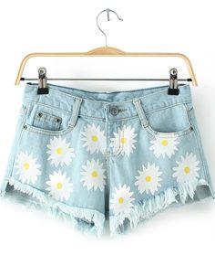 Blue Pockets Daisy Print Fringe Denim Shorts - Sheinside.com