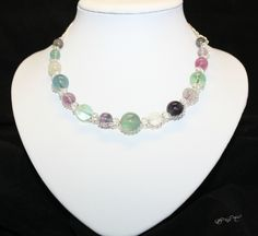 Natural Multi Colour Round Fluorite Gemstone Clear Crystal Antique Silver Chain Handmade Necklace by EmeraldaCrystal on Etsy