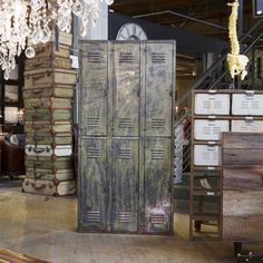 3-Tier Army Green Locker (Vintage) - One-of-a-kind - H.D. Buttercup ,This would be great in a mud room when the kids come in to put their things in don't you think.