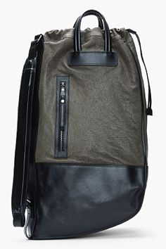 NEIL BARRETT Black and olive leather Luanda Sack