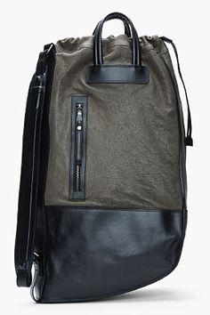NEIL BARRETT Black and olive leather Luanda Sack