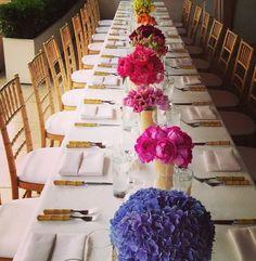 Multi-colored flower arrangements for a dinner party Table Arrangements, Floral Arrangements, Flower Arrangement, Entertainment Table, Centre Pieces, Beautiful Flowers, Table Settings, Table Decorations, Flower Decorations