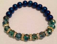 Blue and green mirror stretch bracelet