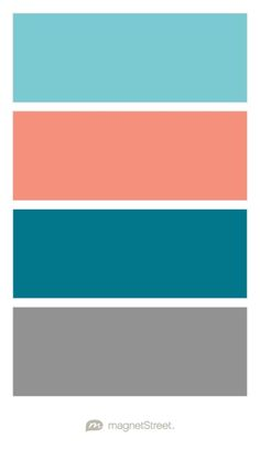 Turquoise, Coral, Peacock, and Classic Gray Wedding Color Palette - custom color palette created at MagnetStreet.com
