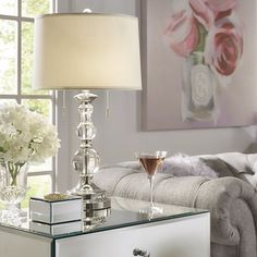 Instantly illuminate a minimalist den seating ensemble or set the centerpiece for the foyer console with this chic Moynihan Table Lamp, featuring a glossy white and chrome base and a classic drum shade. Farmhouse Table Lamps, Farmhouse Lighting, Traditional Table Lamps, Traditional Furniture, Table Lamp Sets, Drum Shade, End Tables, Floor Lamp, Birch Lane