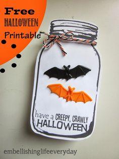 Embellishing Life: Halloween Mason Jar Free Printable