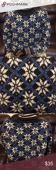 """Mens J.Crew Wool Sweater Turtleneck Nordic XL Great 100% Wool Sweater from J. Crew.  Nordic / Fair Isle Print - Gently worn - no notable flaws.  Black, blue, and gray. Great Ski Apres Sweater!  Measurements:  Armpit-Armpit:  26.5""""  Sleeve:  26""""  Overall Length:  29"""" J. Crew Sweaters Turtleneck"""