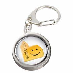 Witziger Schlüsselanhänger mit dem Motiv einer lachendenden #Kirche und der Aufschrift Grüß #Gott  ...