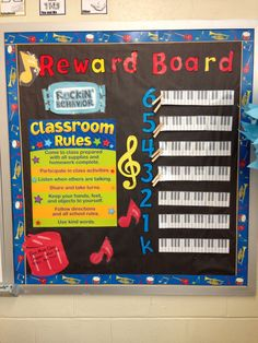 Reward board music bulletin. Make a pin for each classroom and clip it to their designated grade. On your whiteboard or chalkboard put the word MUSIC ( I use magnets). During the lesson if the class is too talkative, take a letter away. If the class keeps all the letters on the board at the end of lesson, they move two steps on their keyboard. 1-4 letters left is one step. No letters = no steps. When a class reaches the end of their keyboard, they earn a free music class.