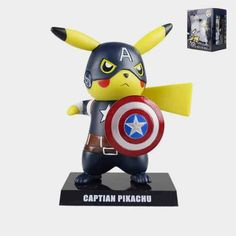 Anime Pikachu Figure Cos Captain America Deadpool Statue Jouet PVC Porte-clés