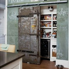 A green chalkboard wall and an internal barn door give this kitchen a … – Own Kitchen Pantry Küchen Design, House Design, Design Ideas, Design Inspiration, Modern Design, Shelf Inspiration, Studio Design, Bedroom Inspiration, Graphic Design