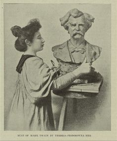 Bust of Mark Twain by Theresa Federowna Ries. [Theresa Federowna Ries working on her bust of Mark Twain.] ([ca. 1897]). Image ID: 1214230    http://digitalgallery.nypl.org/nypldigital/id?1214230
