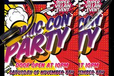 Comic Con is coming. And, what better place to join forces with other like-minded superhumans than the original comic book community gathering? The Comic Con Party Flyer helps set the scene for any comic or retro rendez-vous with cartoon effects, gradient text and bright colors.