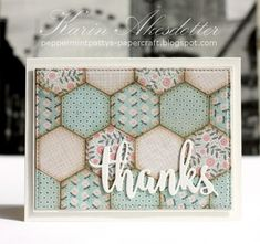 handmade quilt card from Peppermint Patty's Papercraft ... hexagon pattern from punch hexagons ... soft colors with sponged edges make the design stand out ... luv the big white die cut THANKS in script font ...