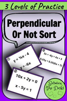 Perpendicular or Not Card Sort Math Resources, Math Activities, Parallel And Perpendicular Lines, Math Writing, Algebra 1, Math Class, My Teacher, Desks, Sorting