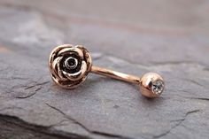 14kt Rose Gold Rook Earring Daith Piercing Eyebrow Ring by MidnightsMojo on Etsy (null)