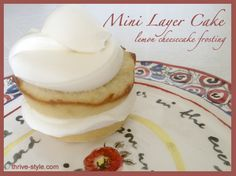 Mini Layer Cakes with Lemon Cheesecake Frosting  (Grain free, Gluten free, coconut flour, high fiber, low carb)