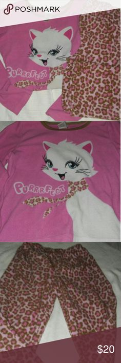 Cute Cat little girls (Size 8) Pink and Tan camo cat pjs for girl in excellent condition Pajamas Pajama Sets