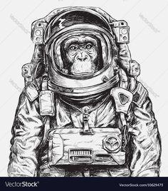 Illustration about Hand Drawn Monkey Astronaut Vector Hand Drawn Monkey Astronaut Vector. Illustration of cosmos, america, shuttle - 77167830 Astronaut Drawing, Astronaut Tattoo, Rocket Drawing, Illustration Singe, Digital Illustration, Astronaut Illustration, Monkey Tattoos, Monkey Art, Leonid Afremov Paintings