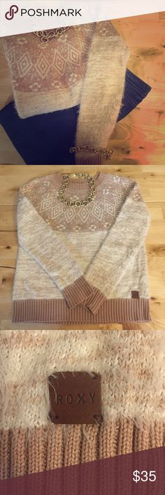 Roxy Sweater Pinkish Beige Tone and cream Roxy Sweaters Crew & Scoop Necks