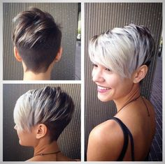 Pixie With Shaved Back   Beautiful Gray Ombre Hair Ideas For Short Hair  Simple & Sexy Inspirations