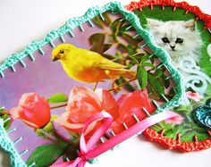 kitsch postcards with crochet edging..., via Flickr.