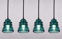 Industrial Pendant Glass Insulator Lights. $145 (each)