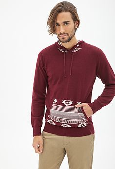 I'm a girl but I still like guy clothes| Southwestern-Patterned Pullover Hoodie | 21 MEN - 2000137591