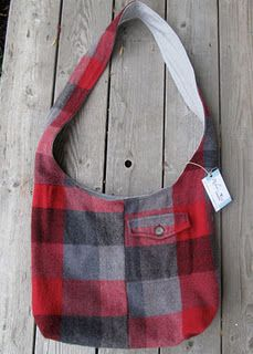 Robin's nest up-cycled bag from a mans flanel shirt!