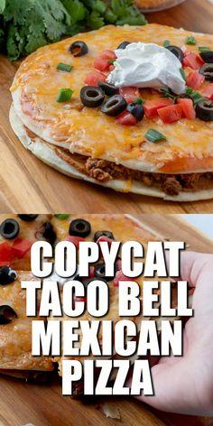 Mexican Pizza is a copycat of the Taco Bell classic. Fried tortillas refried beans seasoned ground beef enchilada sauce and gooey melted cheese! Bon Dessert, Comida Latina, Ground Beef Recipes, Taco Bell Ground Beef Recipe, Ground Beef Nachos, Ground Beef Quesadillas, Ground Beef Dishes, Ground Beef Enchiladas, Ground Meat