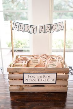 "Such a cute wedding idea for your guests who are children! ""Busy bags"" will keep them busy during the wedding reception so the adults can enjoy themselves a little more :) An easy DIY wedding idea that is a must! Taken at THE SPRINGS in Angleton, Magnolia Manor. Follow this pin to our website for more information, or to book your free tour! Photographer: Heflin Photography #diywedding #diyweddingideas #diybride #diyreception #diyweddingreception #weddingideas #WeddingIdeasReception"